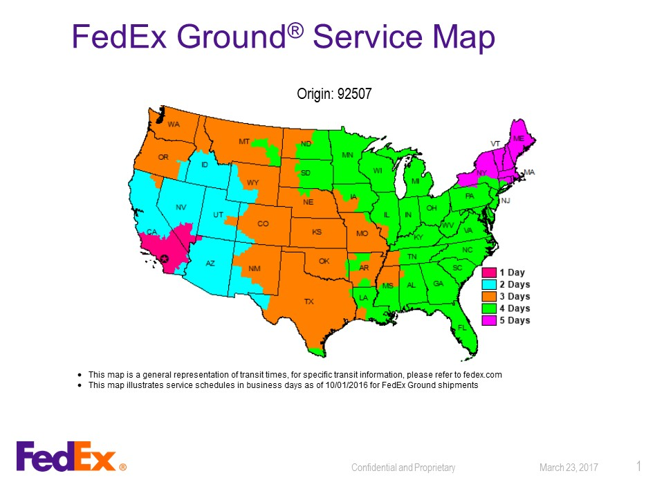 FEDEX Shipping map ground 92507